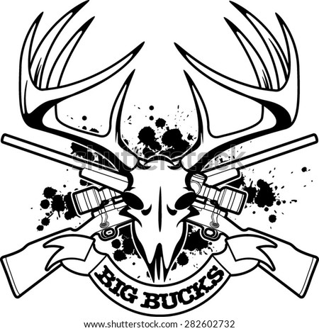 Deer Skull Crossing Hunting Rifles Banner Stock Vector Royalty Free