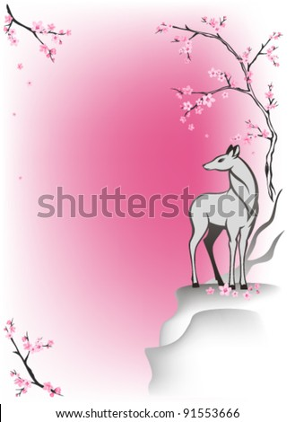 deer standing on a cliff among blooming springtime trees - oriental style vector background - stock vector
