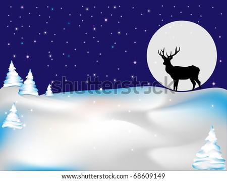 Deer under the moonlight - stock vector