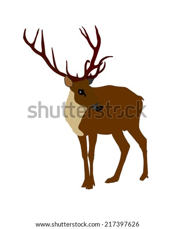 Deer vector silhouette illustration, isolated on white background.