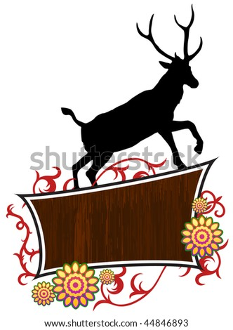 Deer with abstract frame background Original Vector Illustration