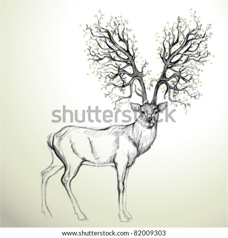 Deer with Antler like tree / Realistic sketch - stock vector
