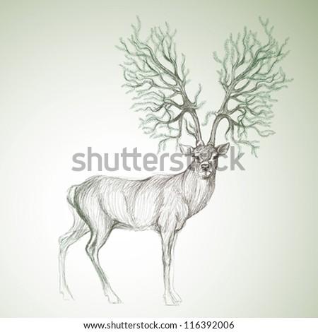 Deer with antlers like Christmas tree / Surreal vector sketch - stock vector