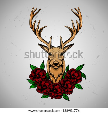 Deer with flowers - stock vector