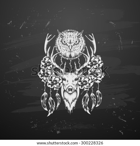 Deer with flowers and owl in tattoo style - stock vector