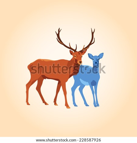 Deers - stock vector