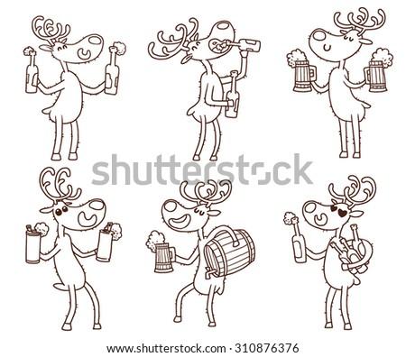 Deers and beers set, line art, vector - stock vector