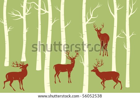 Deers - change the color is one click of mouse - stock vector