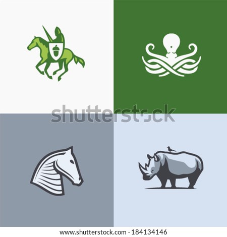 Defence animal set - stock vector