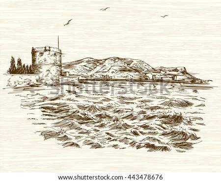 Defensive tower in Mediterranean Sea. Hand drawn illustration. - stock vector