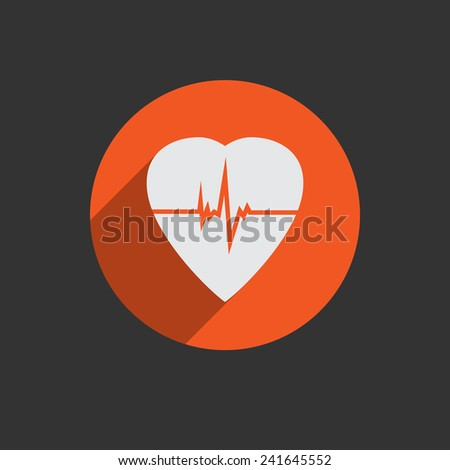 Defibrillator white heart icon isolated on red background. Vector illustration EPS10 - stock vector
