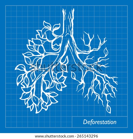 Deforestation is one of the most acute environmental problems. EPS10 vector illustration imitating blueprint style scribbling with white marker. - stock vector