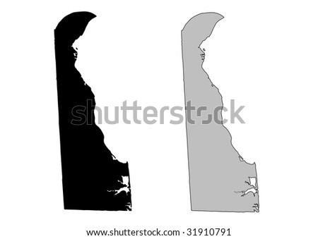 Delaware map. Black and white. Mercator projection. - stock vector