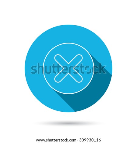 Delete icon. Decline or Remove sign. Cancel symbol. Blue flat circle button with shadow. Vector - stock vector
