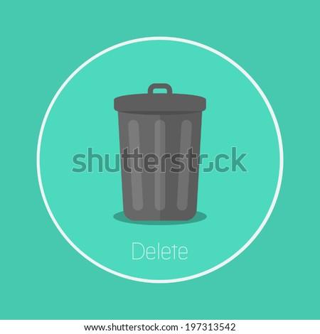 "Delete : Vector ""bin"" icon flat design - stock vector"