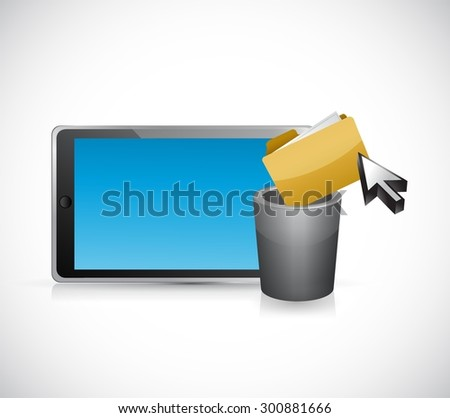 deleting files form a tablet computer. concept illustration design graphic - stock vector