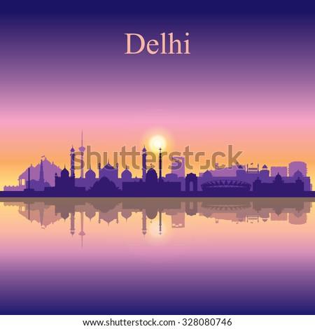 Delhi city skyline silhouette background, vector illustration - stock vector