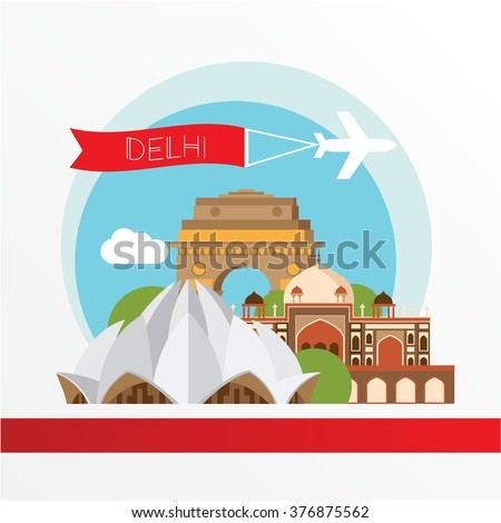 Delhi, detailed silhouette. Trendy vector illustration, flat style. Stylish colorful  landmarks. The concept for a web banner. Lotus temple - The symbol of India, Delhi. - stock vector