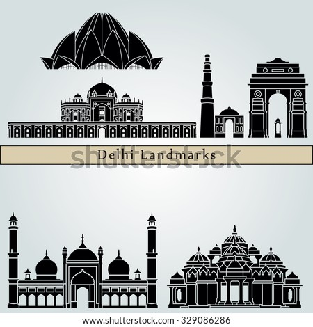 Delhi landmarks and monuments isolated on blue background in editable vector file - stock vector
