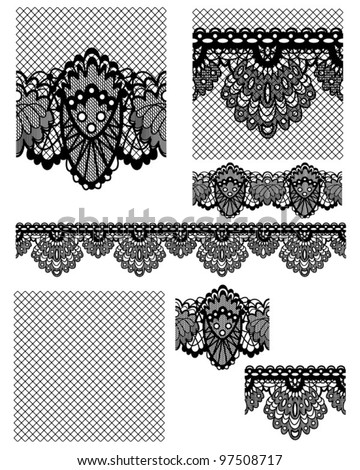 Delicate Black Lace Seamless Vectors Patterns and Brushes. Create stunning textile projects or paper craft items. - stock vector