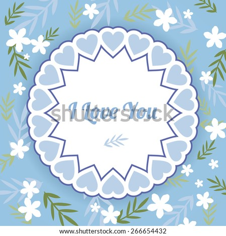 Delicate blue simple greeting card with white flowers and leaves - stock vector