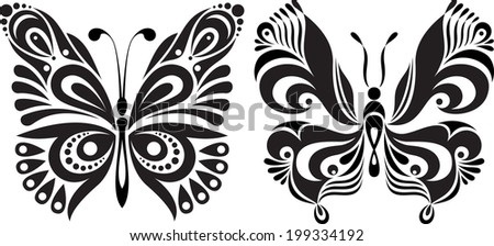 Delicate butterfly silhouette. Drawing symmetrical image. Options. - stock vector
