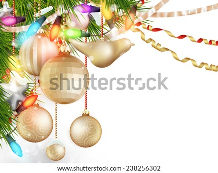 Delicate Christmas ornaments,Isolated on white background. EPS 10 vector file included - stock vector