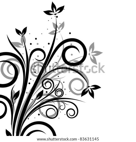 Delicate floral ornament on white background - stock vector