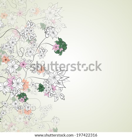 delicate flowers on a light background - stock vector