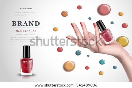 delicate hand with colorful elements and nail lacquer bottles, white background, 3d illustration