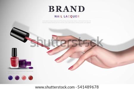 Delicate Hand With Colorful Elements And Nail Lacquer Bottles White Background 3d Illustration