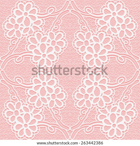 Delicate lace pattern on a pink background. Seamless floral ornament. Vector illustration. - stock vector