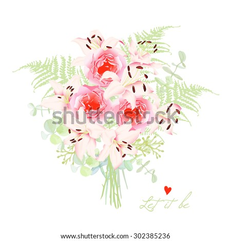 Delicate lilies french styled bouquet. Floral design vector element. All elements are isolated and editable