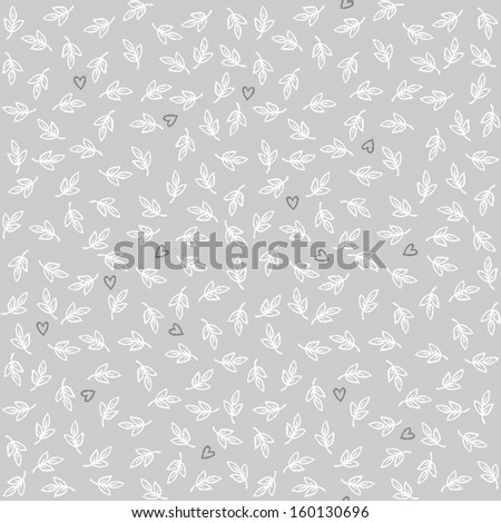 delicate little white leaves and dark hearts on gray background botanical romantic seamless pattern  - stock vector