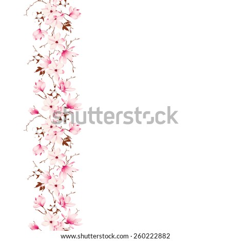 Delicate magnolia and cotton garland vector card Vertical seamless - stock vector