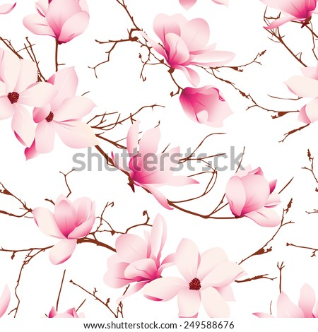 Delicate magnolia flowers seamless vector pattern - stock vector