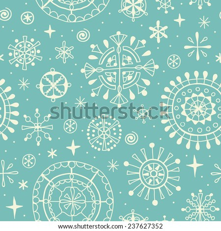 Delicate ornamental endless pattern. Seamless blue winter texture for design and decoration - stock vector