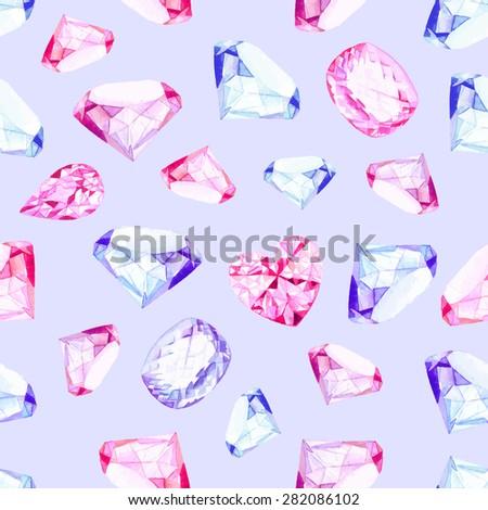 Delicate precious stones watercolor seamless vector pattern - stock vector
