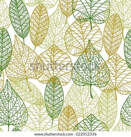 Delicate retro seamless background pattern of outline autumnal leaves in an overlapping repeat pattern - stock vector