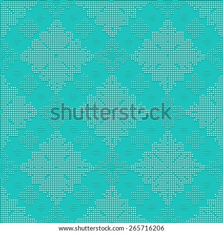 Delicate seamless classic pattern in the form of bead embroidery ornament on the turquoise background - stock vector