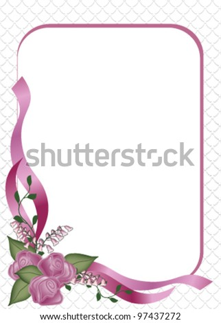 Delicate three  rose bouquet with frame Invitation or Announcement on a  Scallop background for Wedding or Party. - stock vector