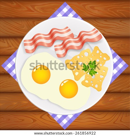 Delicious breakfast on shiny white plate. Plate is on the wooden table. Vector image can be used for restaurant and cafe menu design, food posters, print cards and other crafts. - stock vector