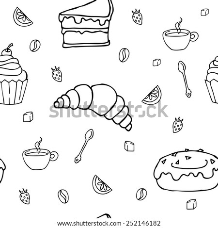 Delicious breakfast or dessert repeated pattern, vector illustration.