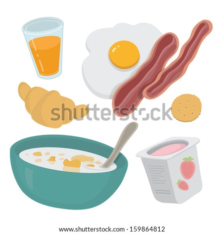 Delicious breakfast set in vector /  click on my name for more food and drinks - stock vector