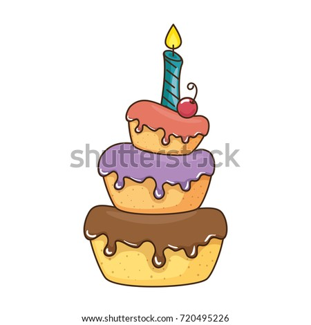 dada having celebration birthday cake stock illustration