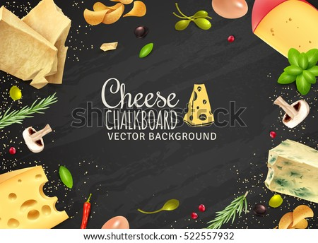 Delicious cheese background with products of different sorts mushrooms and vegetables on chalkboard vector illustration