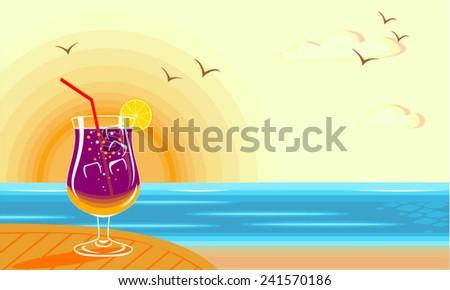 Delicious cocktail on the beach facing the sun - stock vector