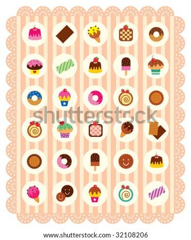 delicious desserts - stock vector
