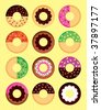 delicious donuts collection - stock vector