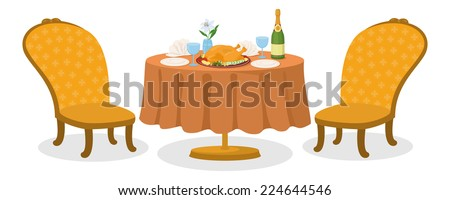 Delicious food on restaurant table, Thanksgiving roasted turkey, bottle of champagne, glasses, napkins, plates, two chairs isolated on white background. Vector - stock vector